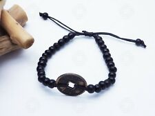 Black Feng Shui Bracelet Bali Talisman Good Luck Chinese Coin Yoga Amulet Hand