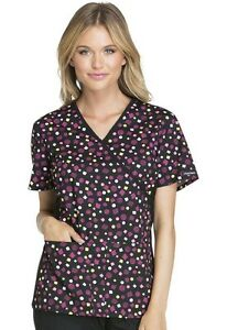 Cherokee Women's V-Neck CK610-TPST Print Scrub Top ( The Party Spot )