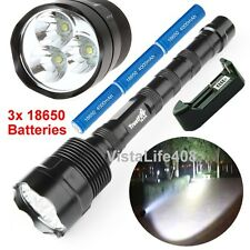3800 Lumen XML 3x T6 LED Flashlight Torch Lamp Light + Batteries + Charger
