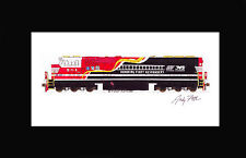 """Norfolk Southern 911 SD60E First Reponders 11""""x17"""" Matted Print Fletcher signed"""