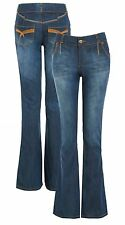 NEW WOMEN JEAN FLARE STONEWASH DENIM RELAXED BOOT CUT JEANS SIZE 8 10 12 14 16