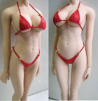 Female Swimwear Red Bikini Clothes Set 1/6 Scale For 12'' Phicen Action Figure
