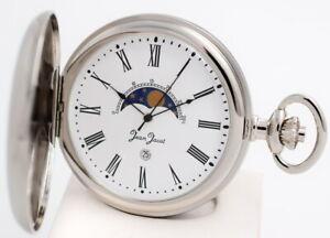 Taschenuhr mit Mondphasen-Anzeige Datum und Kette von Jean Jacot UVP* 168,00 EU