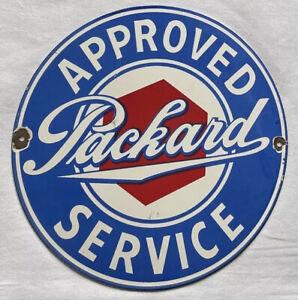 """VINTAGE PACKARD SERVICE DEALERSHIP 12"""" PORCELAIN SIGN CAR GAS OIL GASOLINE"""