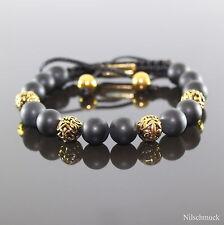 Herren Matt Onyx Shamballa Armband  Armreifen mit Antik Gold Beads für Männer