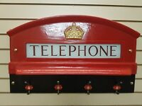 RED TELEPHONE BOX CAST OF THE TOP FRONT OF K6, BOOTH, KIOSK, WITH COAT HANGER