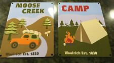 """TIN SIGNS~Lot Of 2~11"""" X 14""""  Woolrich Moose Creek~Camp"""