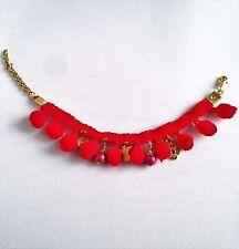 Lovely Handmade Funky Red Pom Pom + Gold Plated Angel & Flower Charms Bracelet
