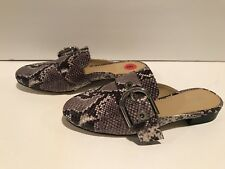 Michael Kors Cooper Slide Leather Python Print Flats Mules Loafers 6 M/ 36 $155
