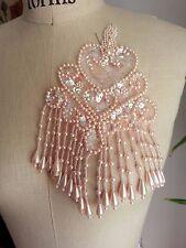 """5"""" X 8"""" Fancy Fringe Bead & Sequin Applique - Pink"""