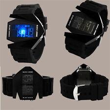 Men's Fashion Noir en Acier Inox Luxe Sport DEL Digital Bracelet Cadran Montre