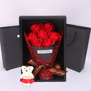 Artificial Soap Rose Bouquet Flower Bear Wedding Valentine Day Lover Gift + Box
