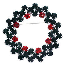 Red Green Crystal Christmas Wreath Reef Brooch Pin Women Fashion Jewelry p35
