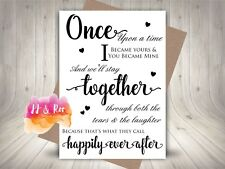 Personalised Once Upon A Time Typographic Anniversary Card: Husband Wife Fiance