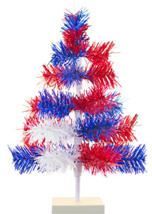 18in 4th of July Tinsel Trees Classic Tinsel Feather Tree Red White & Blue 1.5FT
