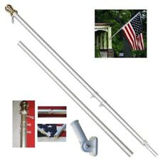 3' x5' Usa American 50 Star Flag w/ 6' Ft Silver Flagpole Flag Pole kit