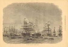 Royal Navy, Fleet Of Ironclads At Portland Harbour, Vintage 1872 Antique Print
