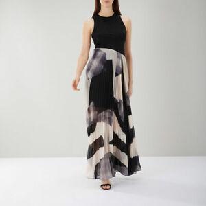 Coast Aria Geo Print Maxi Dress Mono Size 10 Short RRP £159 VR161 04