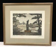 Original Block Print Unknown French Artist 'Estate Garden' Signed And Titled