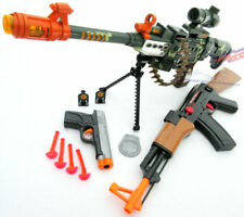 3x Toy Guns - Elec LMG Machine Gun, Friction AK-47 Toy Rifle & 9MM Dart Pistol