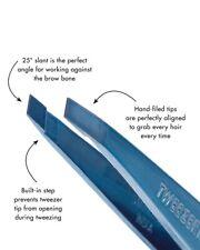 TWEEZERMAN FULL SIZE SLANT TIP TWEEZER, FULL SIZE - BELL BOTTOM BLUE - AUTHENTIC