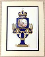 1988 Stampa Antico Porcellana Francese Neoclassico Urna Cherubini Dorato Cigno