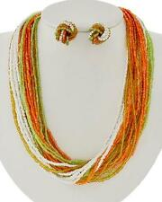 Multi Strand Multi Orange Green White Glass Seed Bead  Necklace And Earring Set