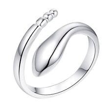 *UK* 925 Silver Plt Adjustable Snake Ring Cobra Rattle Serpent Wrap Twist Thumb