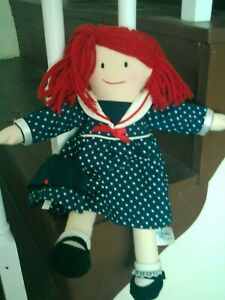 "Madeline Eden stuffed rag doll sailor dress/hat polyester cotton 15"""