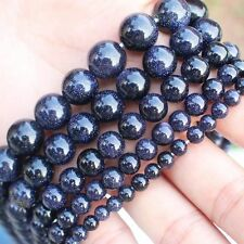 Natural Glidstone/Blue sand stone Round loose beads 15""