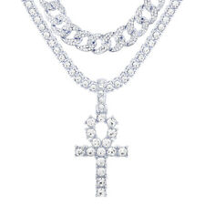 "Silver Plated CZ Ankh Cross Pendant 24"" Tennis / Cuban Chain Necklace TCMP 209 S"