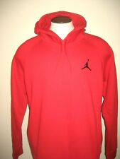 Nike Air Jordan Mens Retro Logo pullover hoodie Sweatshirt Red Black Size XL NWT