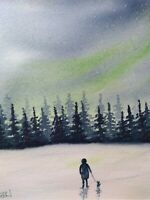 Original watercolour painting. A walk for pup under the northern lights. Dogs.