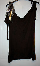 LADIES MISSION VEST TOP WITH FEATHERS ON ONE SHOULDER BROWN SIZE 4 USED