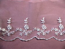 """9y Venice Net Lace Scalloped Embroidered 5"""" Floral  #1682"""