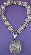 English Victorian Big Sterling Silver Locket Necklace Birmingham Hallmarked 1901