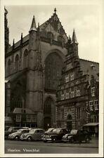 Haarlem alte Ansichtskarte ~1940/50 Vleeschhal Straßenpartie Grote Kerke Autos