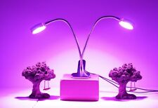 Led Grow Light - Dual Heads - Stainless Steel - 16W - Desk Clip Lamp