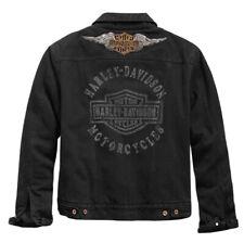 HARLEY DAVIDSON Black Denim Jacket Mens Medium New Distressed Logo Patch VTG NWT