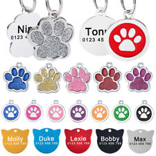 Custom Personalised Dog Tag Engraved Kitten Cat Puppy Pet Collar ID Tags Name