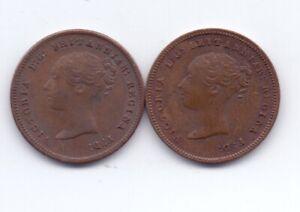 2x Bronze Farthing Coins 1843 & 1844 High Grade Queen Victoria