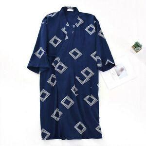 Men's Cotton Bathrobe Japanese Kimono Night Dressing Gown Robe Sleepwear Unisex