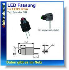 LED Fassung Sockel Halter für 3mm LED's, schwarz,  Schurter SRL, 5 St.