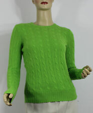 Ralph Lauren Polo Womens Sweater Large Green Cashmere Cable Knit Slim Fit