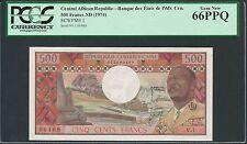 Central African Republic ND (1974) P-1 PCGS Gem New UNC 66 PPQ 500 Francs