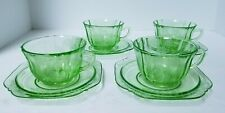 Set of 4 Sylvan Green Depression Federal Glass Parrot Tea Cups & Saucers
