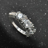 SZ6-9 White Sapphire Silver Wedding Ring White Gold Filled Engagement Jewelry