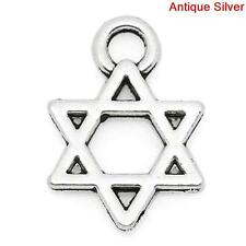 60 Pcs Charm Pendants Hexagram Antique Silver 13x9mm LC2205