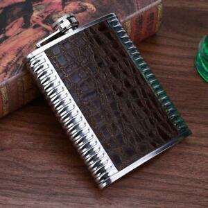 8oz Luxury Leather Stainless Steel Hip Flask Drink Whiskey Vodka Case Divine UK