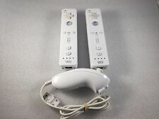 Set of (2) Official Nintendo Brand White Wiimote +1 Nunchuk for Wii Remote OEM